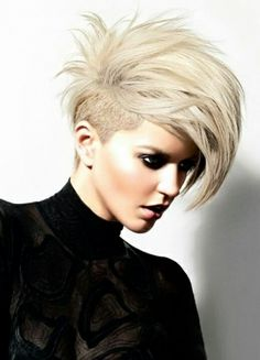 Amazing Short Layered Bob/Pixie Style with Side Shaved ..... IF I could rock this .... Id be on it <~~per ekm