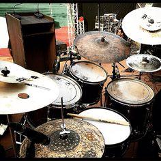 This beautiful meinl cymbals set up belongs to Gino Banks.