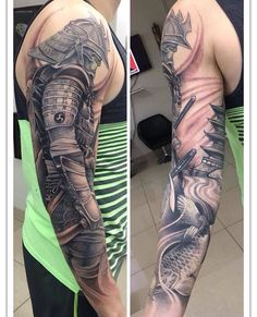 Get to witness the most amazing samurai tattoos design 2019 here. We have the most splendid art styles that will tell you all the samurai tattoo meaning as well as the samurai tattoo back,arm, and even your leg. Samurai Tattoo Sleeve, Samurai Warrior Tattoo, Armor Tattoo, Warrior Tattoos, Japanese Warrior Tattoo, Japanese Tattoo Designs, Japanese Sleeve Tattoos, Full Sleeve Tattoos, Tattoo Sleeve Designs