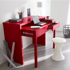 Colorful Space-saving Desk. No help on the link, but this looks like a DIY to…