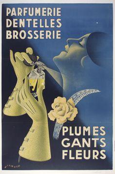 Artist: A. Wilquin /  Origin: France - c. 1920 /  32 x 47 in (81 x 119 cm) / Description:  Perfumery  Lace  Brushmaker's  Feathers  Gloves  Flowers