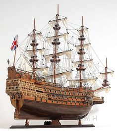 "HMS Sovereign of the Seas Tall Ship Wood 37"" Model Sailboat"