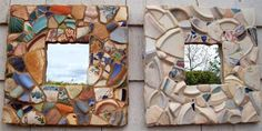 """Beautiful. The one on the left is my favorite. """"A Study in Contrast or How I Created Two Very Different Mosaics from the Same Shards"""" Helen Bushell."""