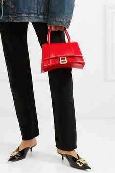 Red leather (Calf) Snap-fastening front flap Comes with dust bag Weighs approximately Made in Italy Balenciaga Jacket, Balenciaga Handbags, Mini Bag, Fashion Bags, Leather Shoulder Bag, Me Too Shoes, Bag Accessories, Women Wear, Hourglass