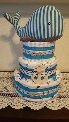 Whale theme diaper cake. Its a boy! Anchor, whale,white,turquoise Baby Shower Diapers, Baby Shower Cakes, Baby Boy Shower, Baby Shower Gifts, Whale Diaper Cake, Diy Diaper Cake, Baby Whale, Nautical Baby, Baby Crafts