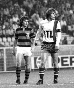 #Zico (#Flamengo) and #DominiqueBathenay (#PSG) (1980).    @Histoire_du_PSG