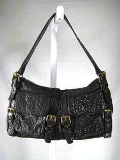 AUTHENTIC KOOBA Black Pebbled Leather Buckle Shoulder Satchel Handbag #Kooba #ShoulderBag