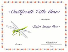 Blank Certificate Template, Award Template, Free Certificates, Free Downloads, Awards, Place Card Holders, Kids, Children, Boys