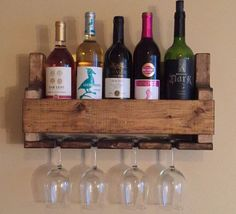 #ebay #Wine #Rack #Glass #Holder #Distressed #Wood #Wedding #Gift #Present #Rustic #Handmade #Handmade