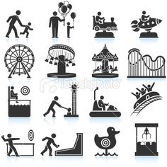 amusement park and Carnival black & white set - Royalty Free Stock Vector Art Illustration