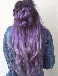 Long Lavender Hair Color Idea