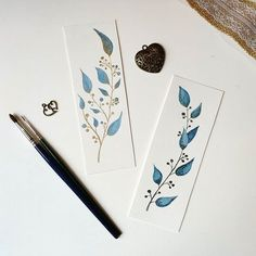Botanical-inspired marcapagines 🇬🇧 Botanical inspiration bookmarks ...  - Watercolor: - #Bookmarks #Botanical #Botanicalinspired #Inspiration #marcapagines #watercolor Creative Bookmarks, Paper Bookmarks, Watercolor Bookmarks, Watercolor And Ink, Watercolour Painting, Watercolor Flowers, Book Markers, Mail Art, Book Making