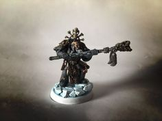 Rune priest conversion - + SPACE WOLVES + - The Bolter and Chainsword Bolter And Chainsword, Space Wolves, Warhammer 40k, Priest, Runes, Conversation, Wolf, Carving, Statue