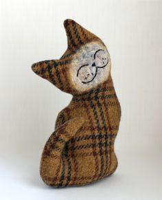 Cat Plush Folk Wool  Golden Raisin Cat by Marjji on Etsy, $22.00