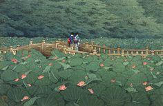 The Pond at Benten Shrine in Shiba Kawase Hasui