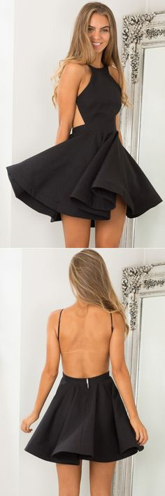 homecoming dresses, fall fashion, simple black party dresses, cheap backless homecoming gowns.