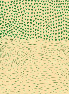 This pattern got me curious. I imagine of a flood-devastated little village with the strewn sticks, while the hearts represent the pour of love and support.