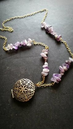 Amethyst & Gold Aromatherapy Necklace  Essential by AuraStrands