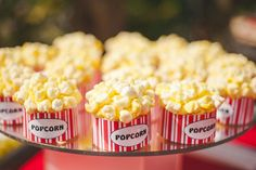 """""""Popcorn"""" cupcakes at a CARNIVAL PARTY via www.KarasPartyIdeas.com #carnival #circus #PartyIdeas #cupcakes"""
