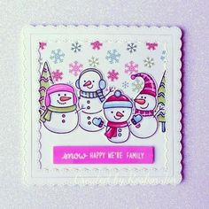 Sunny Studio Stamps: Feeling Frosty Customer Card by Roslyn Jin Christmas Cards Handmade Kids, Christmas Ideas, Poinsettia Cards, Sunnies Studios, Studio Cards, Snowman Cards, Embossed Cards, Scrapbook Cards, Scrapbooking