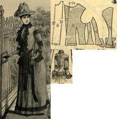 Tygodnik Mód 1889.: Morning dress with pleated skirt and jacket from wine red soft wool and black lace trimming.