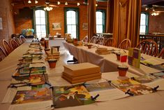 decorated the tables with kraft paper-covered books, children's book tale runners and little terra cotta pots.