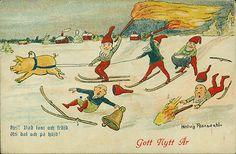 """""""Nyårskort=""""New Year"""" Postcard... artist,Hedwig Rosendahl. 1918"""