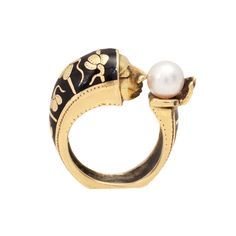 Yellow Gold, Pearl and Enamel Face Ring