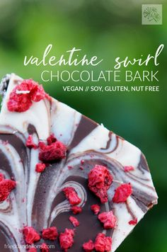 Two kinds of chocolate come together to make this beautiful Valentine Swirl Chocolate Bark! via @frieddandelions