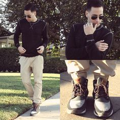 Threads For Thought Sweater, Hot Topic Trousers, Levi's Sneakers, Ray Ban Sunglasses