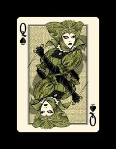 """Queen of Spades - L' assassina -Bicycle """"Venexiana"""" deck of playing cards by Half Moon Playing Cards"""