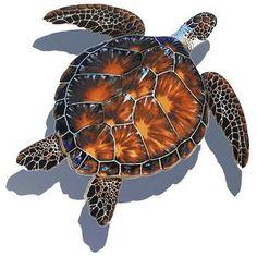 PORC-BT10-10/SH Brown Turtle w/Shadow Custom Mosaics
