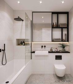 Contemporary White Bathrooms, Small White Bathrooms, Small Bathroom Interior, Modern Bathroom Design, Small Elegant Bathroom, Industrial Bathroom Design, Washroom Design, Minimalist Bathroom Design, Timeless Bathroom