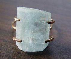 Raw aquarimarine ring