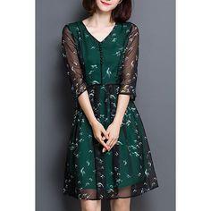 $23.96 Women's Fashionable Chiffon V Neck 3/4 Sleeve Print Dress