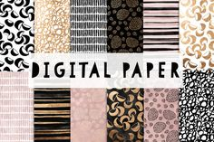 Pink, Gold and Black digital paper by GraphicRain on Creative Market
