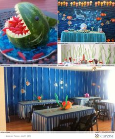 Under the Sea Theme Party.. toss up between a shark or baby carrige fruit basket