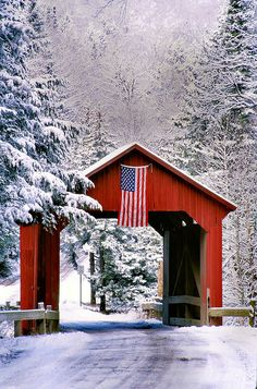 Red, White and Blue by john knox on Capture My Vermont // Winter shot of Stony Brook Bridge in Northfield. I went to the bridge because of the snow cover and the red bridge and was totally surprised to find the flag attached to the bridge. Vermont Winter, Old Bridges, Old Barns, Covered Bridges, Winter Scenes, Snow Scenes, Beautiful Landscapes, Red And White, Places To Go