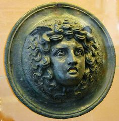 Head of Medusa. bronze Ornament for Furniture, found in Pompeii. National…