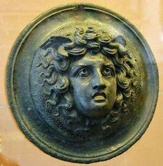 Head of Medusa. bronze Ornament for Furniture found in Pompeii