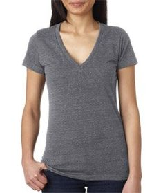 Bella Ladies Triblend Deep V-Neck T-Shirt. 8435
