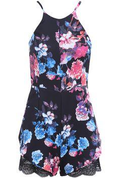 Black Spaghetti Strap Floral Lace Jumpsuit 21.33