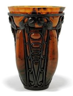 DAUM AND MAJORELLE GLASS AND WROUGHT-IRON VASE
