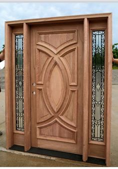 Exterior Wood Doors   Solid Mahogany Wood Front Door With Wrought Iron  Glass Sidelites With Quick Shipping.