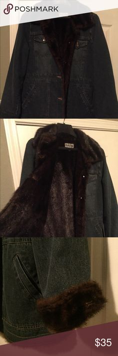 Marvin Richards Denim with Faux Fur Jean Jacket Denim jacket fully lined with faux Mink fur in a longer length. Fur also lines the sleeves. This is a heavy warm coat with two sets of pockets, one set at chest level and the other set slit pockets for your hands. NWOT Marvin Richards Jackets & Coats Jean Jackets