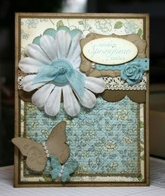 Krystal's Cards and More: Challenge Monday 3.7.11 STAMPS:  Easter Blossoms PAPER:  Crumb Cake, Soft Suede, Very Vanilla, Baja Breeze, Springtime Vintage DSP ACCESSORIES:  Decorative Label Punch, Oval Punch, Scallop Ribbon Border Punch, Tasteful Trim die, Scallop Circle Punch, Crocheted Trim, Beautiful Wings Embosslit, Basic Pearls, Square Lattice EF, Basic Pearls, Designer Buttons, Baja Seam Binding, Vintage Flower Adornments