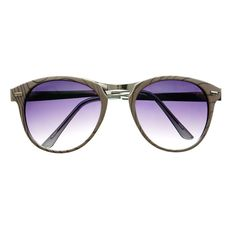Fashion Designer Style Wood Like Round Sunglasses R2180