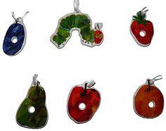 Lunt-Designed-by-Eric-Carle-Caterpillar-Fruit-Ceramic-Ornaments-Set-EC15-NEW Eric Carle, Xmas Ornaments, Caterpillar, Ceramics, Fruit, Holiday Decor, Ebay, Design, Christmas Ornaments