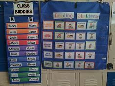 An easy to change way to organize literacy centers. Gotta love those old school pocket charts!