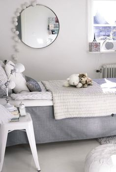 Is it mean to make a kids room all white? Not sure... But it is definitely chic.